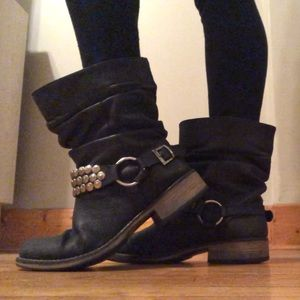 Steve Madden P- Coinz Leather Moto Boots Size 8